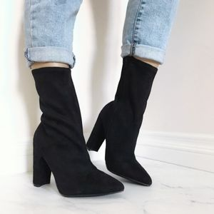 Black Pointed Toe Sock Boot